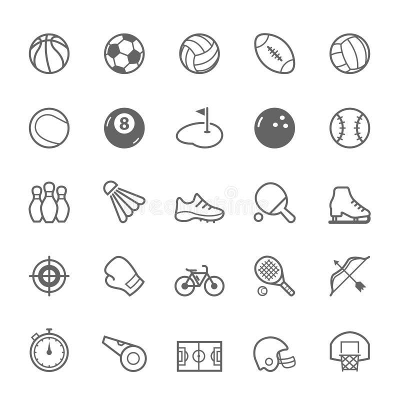 Sistema del icono del deporte del movimiento del esquema stock de ilustración