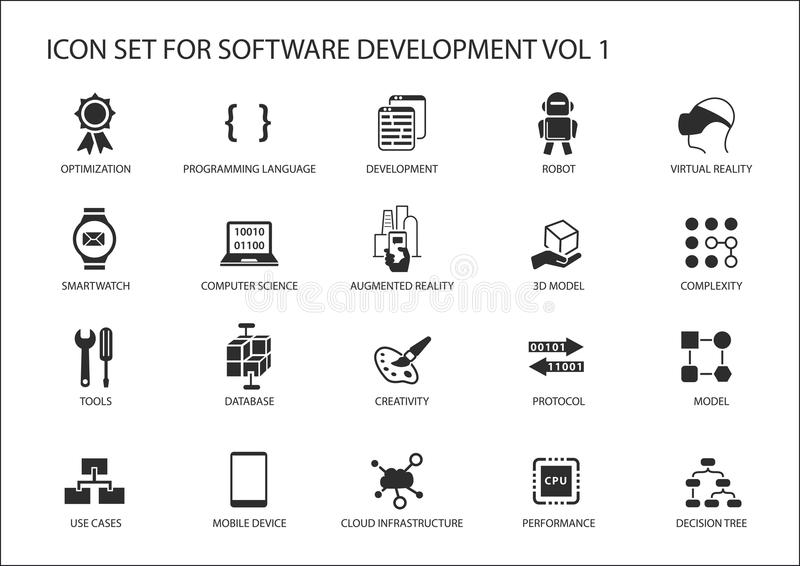 Sistema del icono del desarrollo de programas Vector los símbolos que se utilizarán para el desarrollo de programas y la tecnolog stock de ilustración