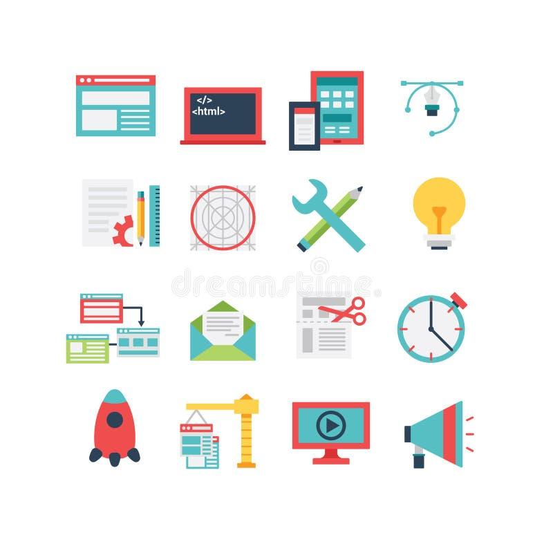 Sistema del icono del desarrollo web stock de ilustración