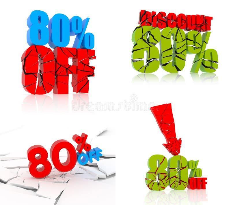 sistema del icono del descuento del 80% ilustración del vector