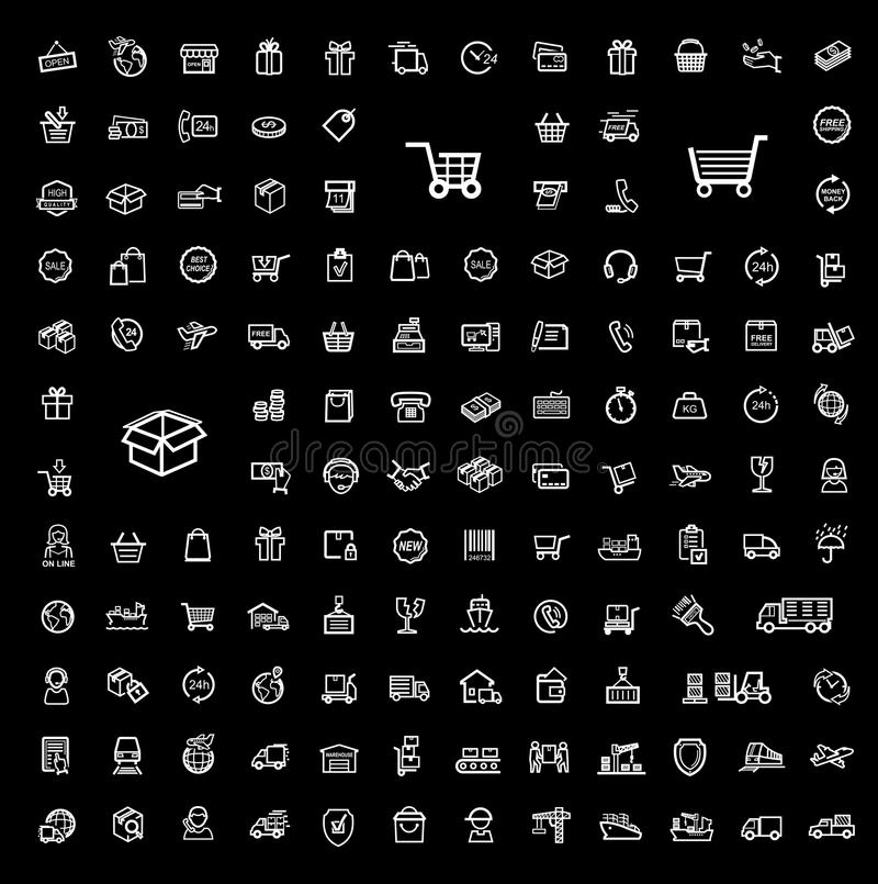 Sistema del icono del envío libre illustration