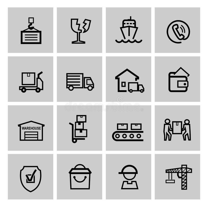 Sistema del icono del envío ilustración del vector