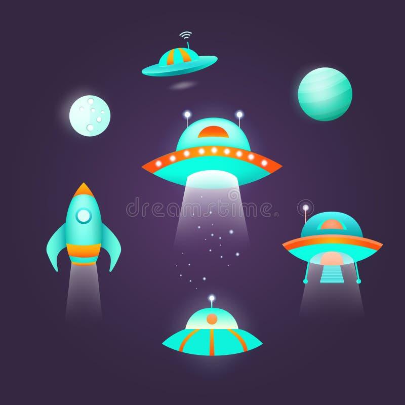 Sistema del icono del espacio ilustración del vector