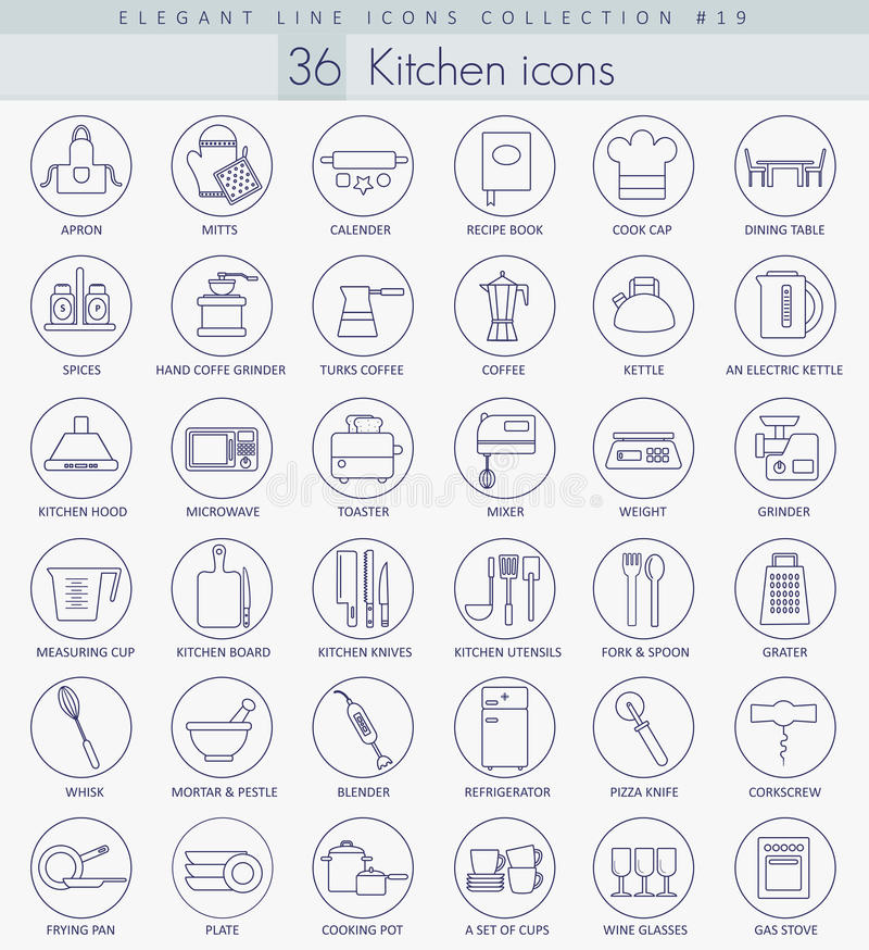 Sistema del icono del esquema de la cocina del vector Línea fina elegante diseño del estilo stock de ilustración