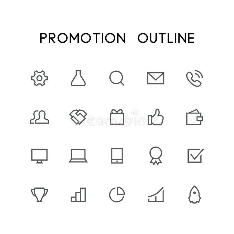 Sistema del icono del esquema de la promoción stock de ilustración