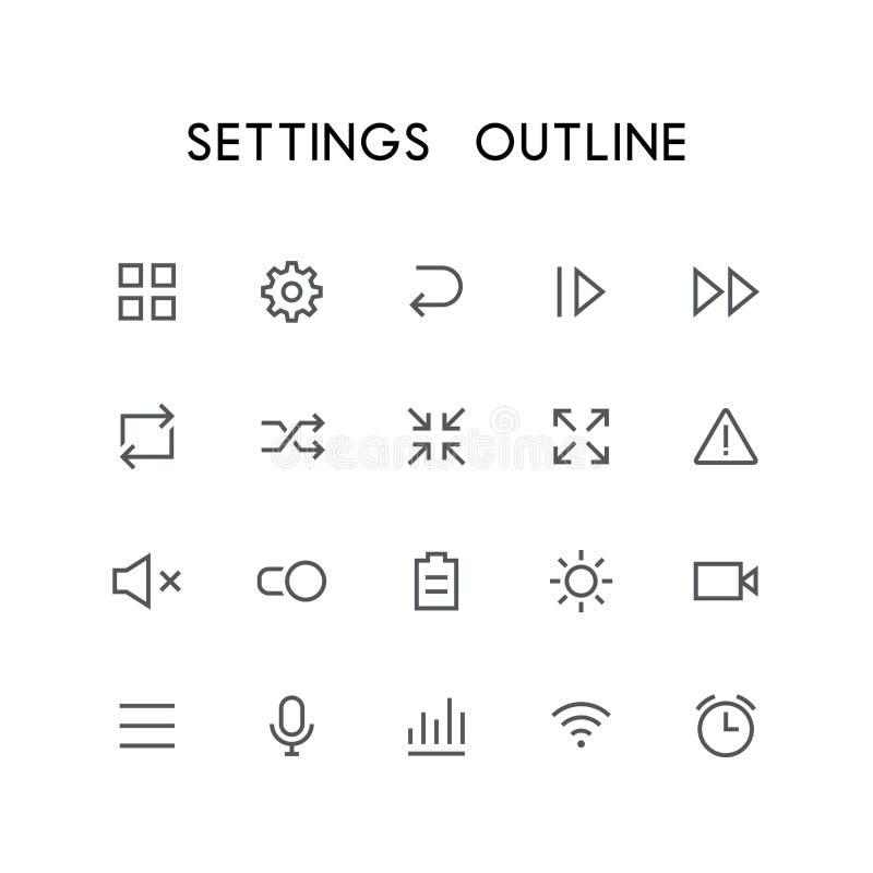 Sistema del icono del esquema de los ajustes libre illustration