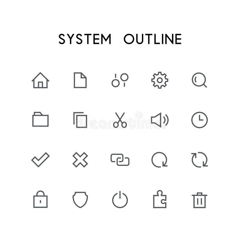 Sistema del icono del esquema de sistema stock de ilustración