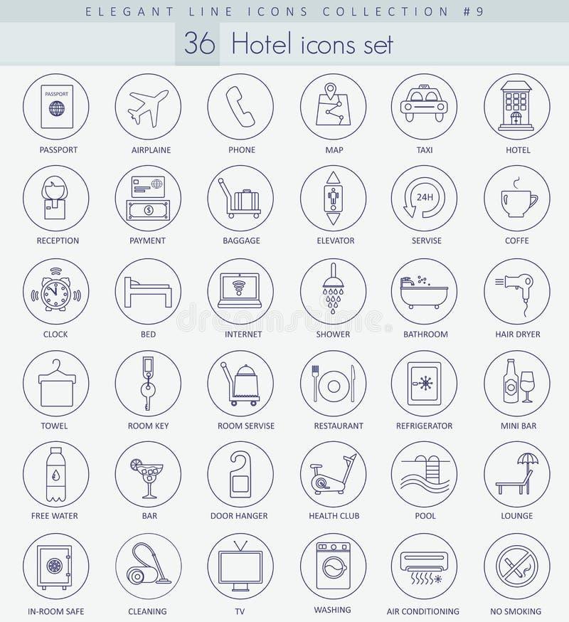 Sistema del icono del esquema del hotel del vector Línea fina elegante diseño del estilo stock de ilustración