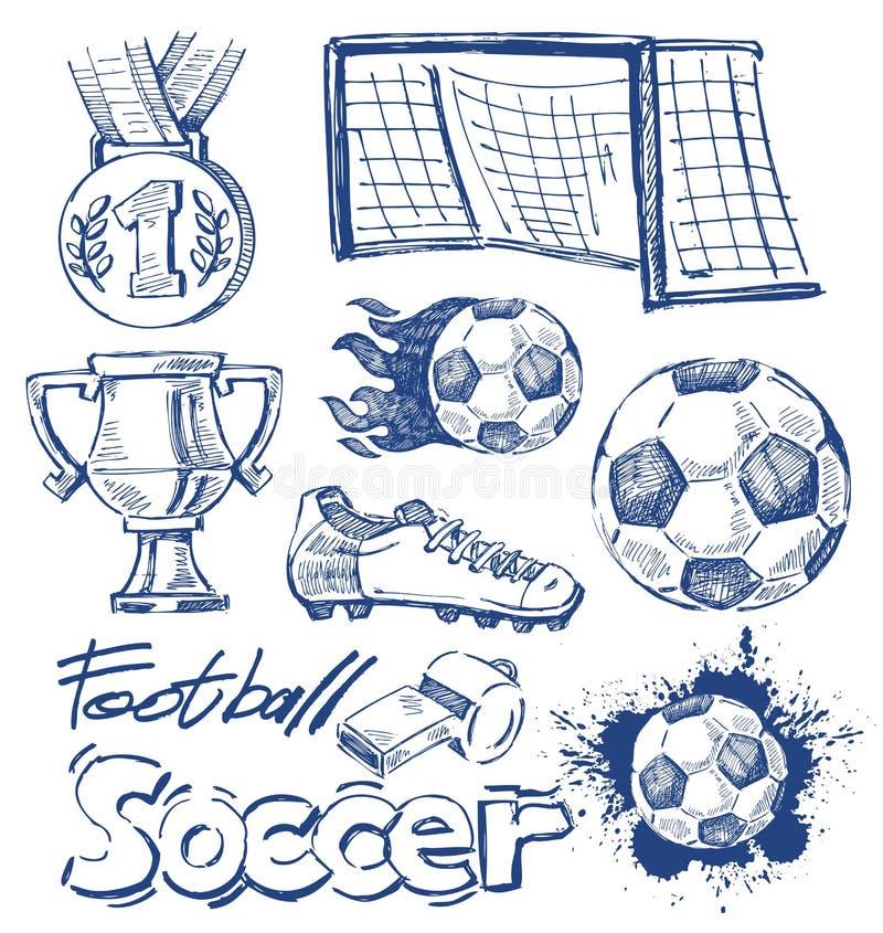 Sistema del icono del fútbol ilustración del vector