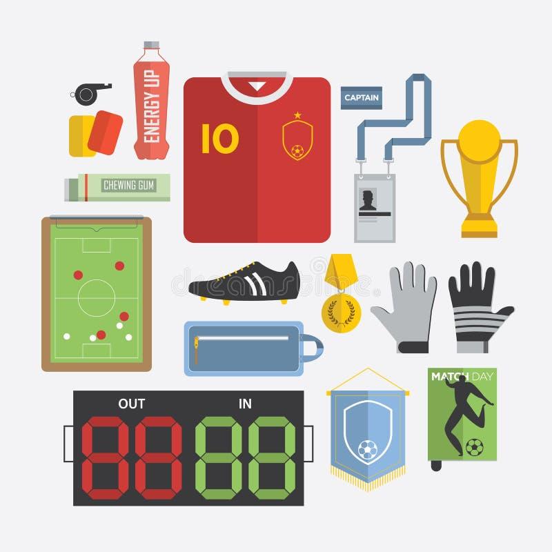 Sistema del icono del fútbol/del fútbol en diseño plano stock de ilustración