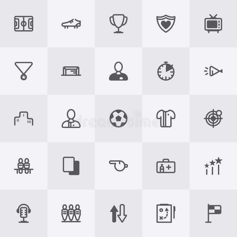Sistema del icono del fútbol/del fútbol Línea vector del arte ilustración del vector