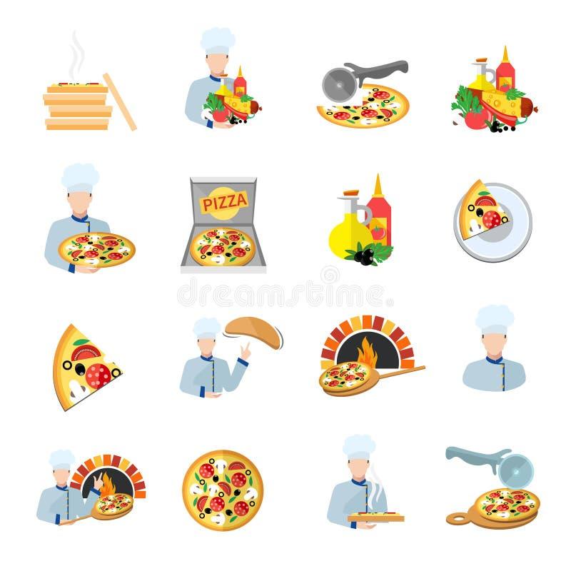 Sistema del icono del fabricante de la pizza stock de ilustración