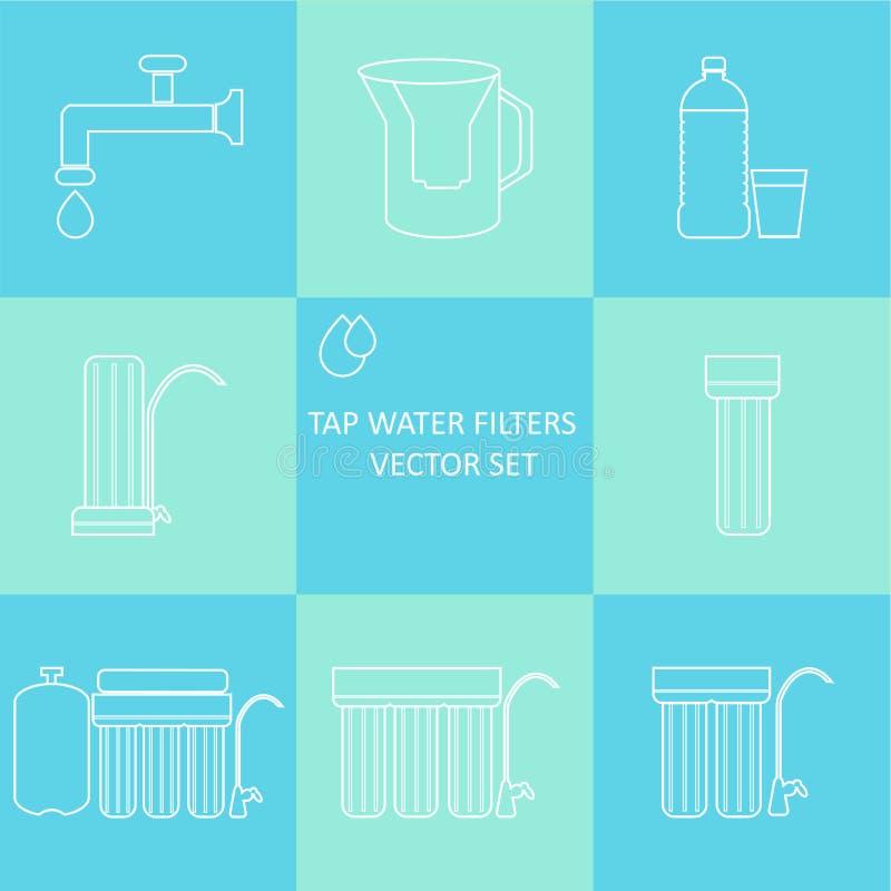 Sistema del icono del filtro de agua del grifo del esquema Bebida y filtros caseros de la purificación del agua libre illustration