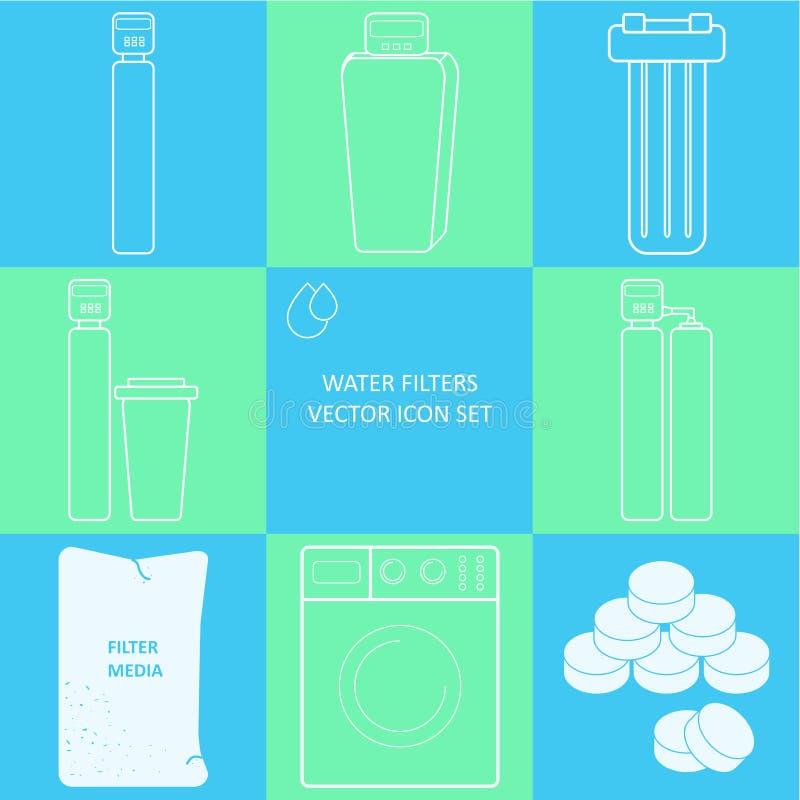 Sistema del icono del filtro de agua del grifo del esquema Sistemas de la filtración del golpecito de la bebida y de los filtros  stock de ilustración