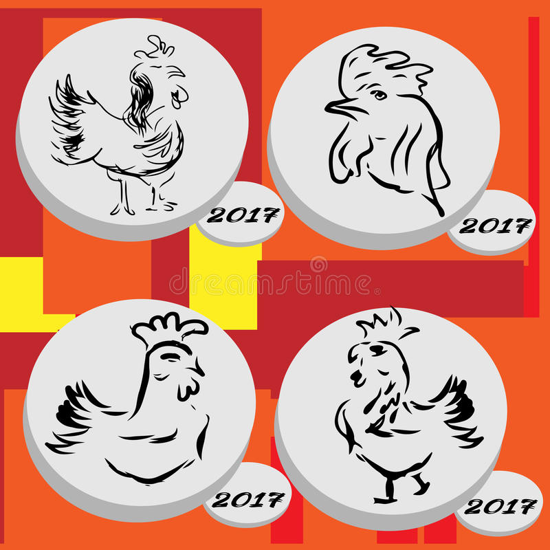 Sistema del icono del gallo Gallo del vector el día de Año Nuevo 2017 libre illustration
