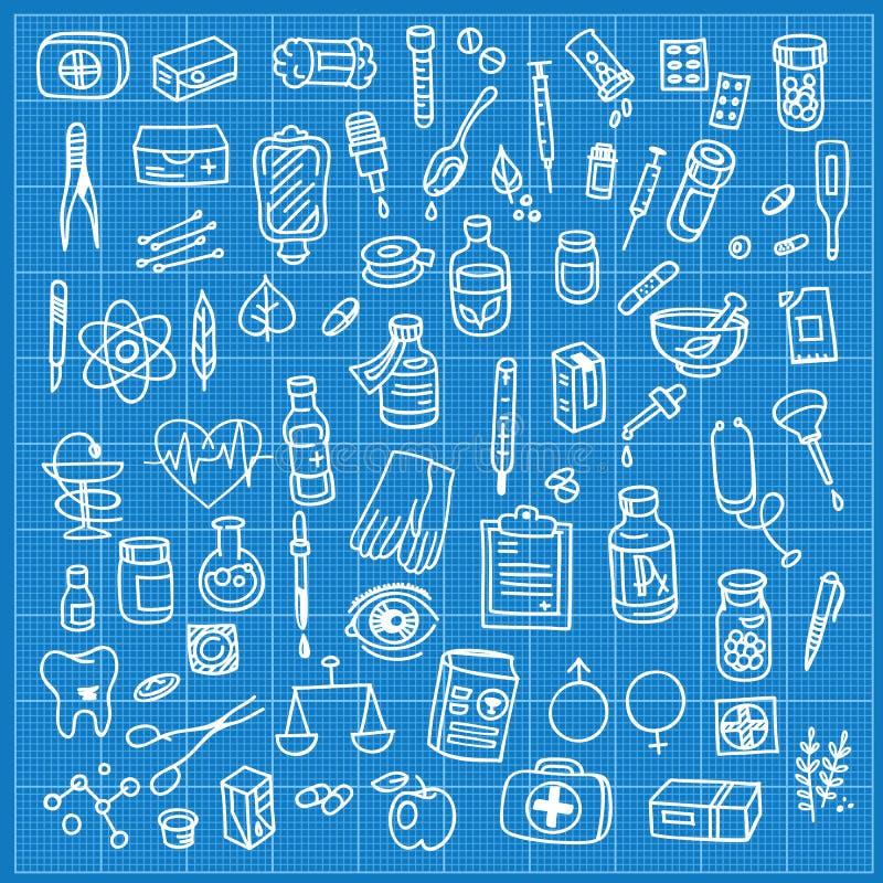 Sistema del icono del garabato de la atención sanitaria y de la medicina ilustración del vector