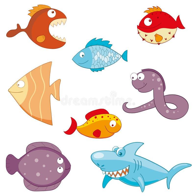 Sistema del icono del garabato de los pescados de la historieta imagen de archivo
