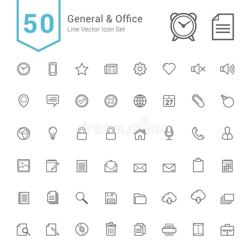 Sistema del icono del general y de la oficina 50 línea iconos del vector ilustración del vector