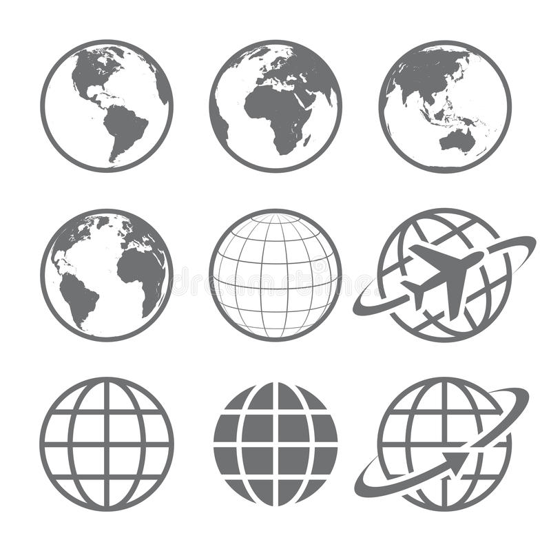 Sistema del icono del globo de la tierra stock de ilustración