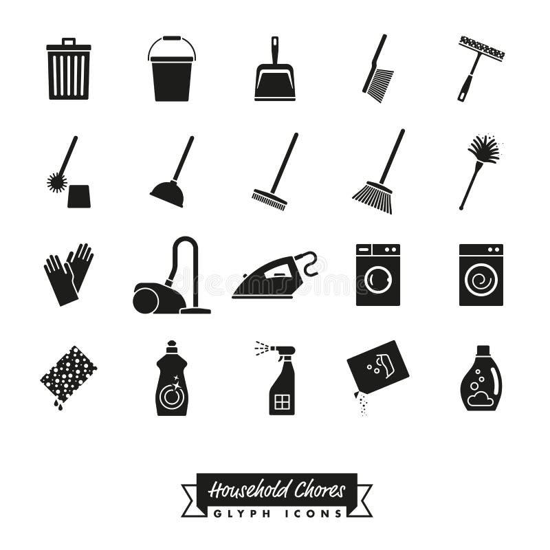 Sistema del icono del Glyph de las tareas de hogar ilustración del vector