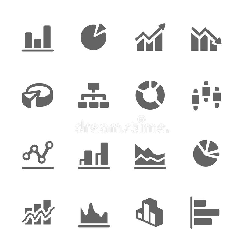 Sistema del icono del gráfico y del diagrama. stock de ilustración