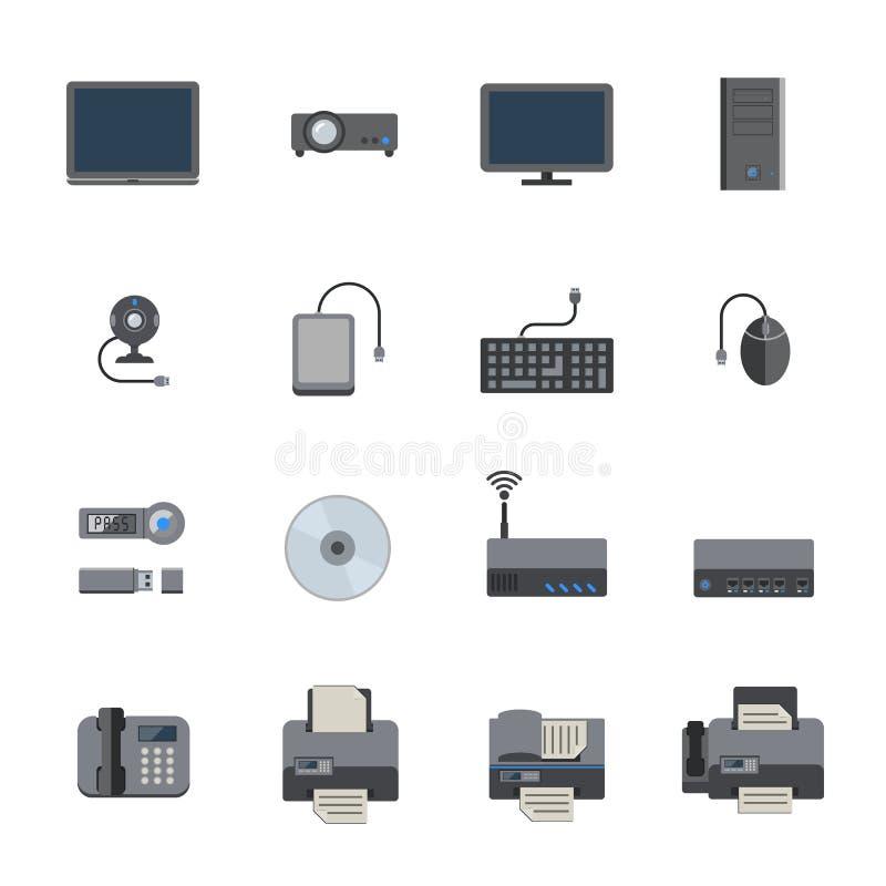 Sistema del icono del hardware y del dispositivo de la oficina Diseño plano del vector libre illustration