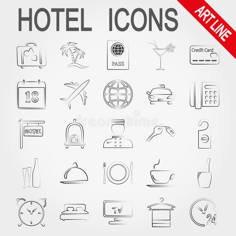 Sistema del icono del hotel ilustración del vector