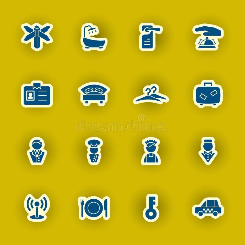 Sistema del icono del hotel aislado en amarillo stock de ilustración