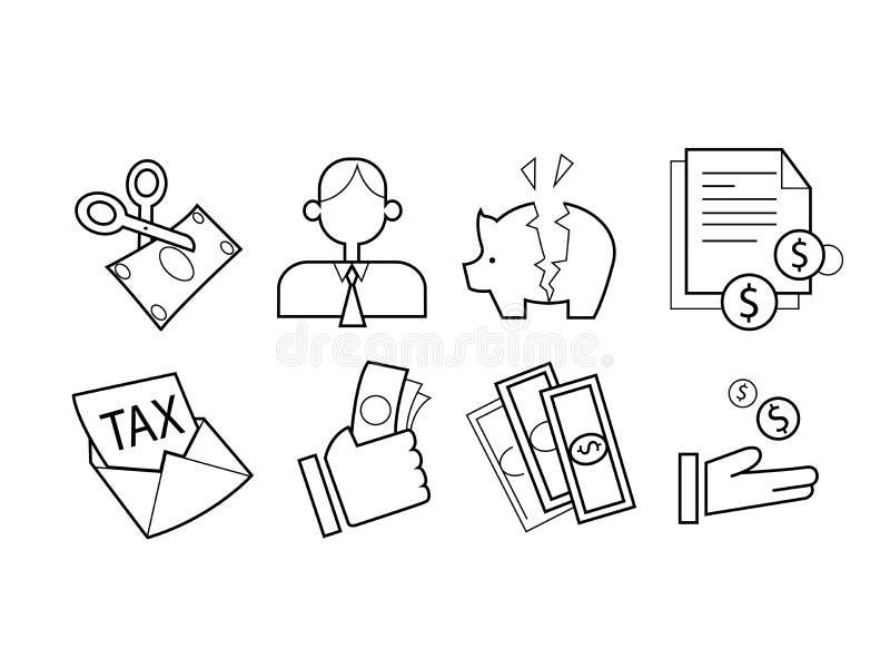 Sistema del icono del impuesto fotos de archivo