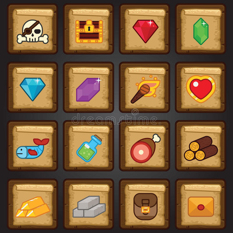 Sistema del icono del juego, icono plano del juego, recursos, botín stock de ilustración