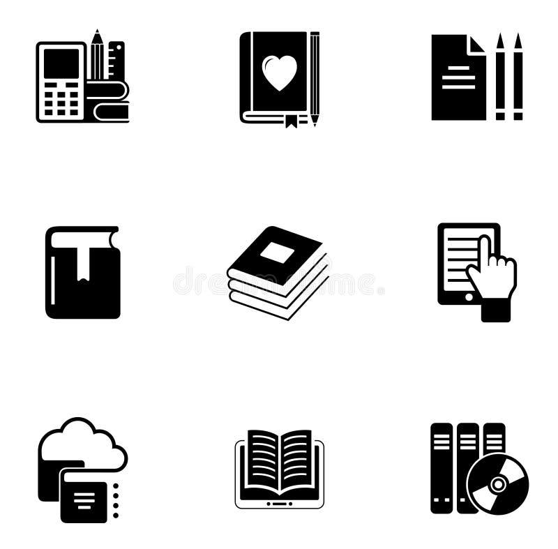 Sistema del icono del libro de E stock de ilustración