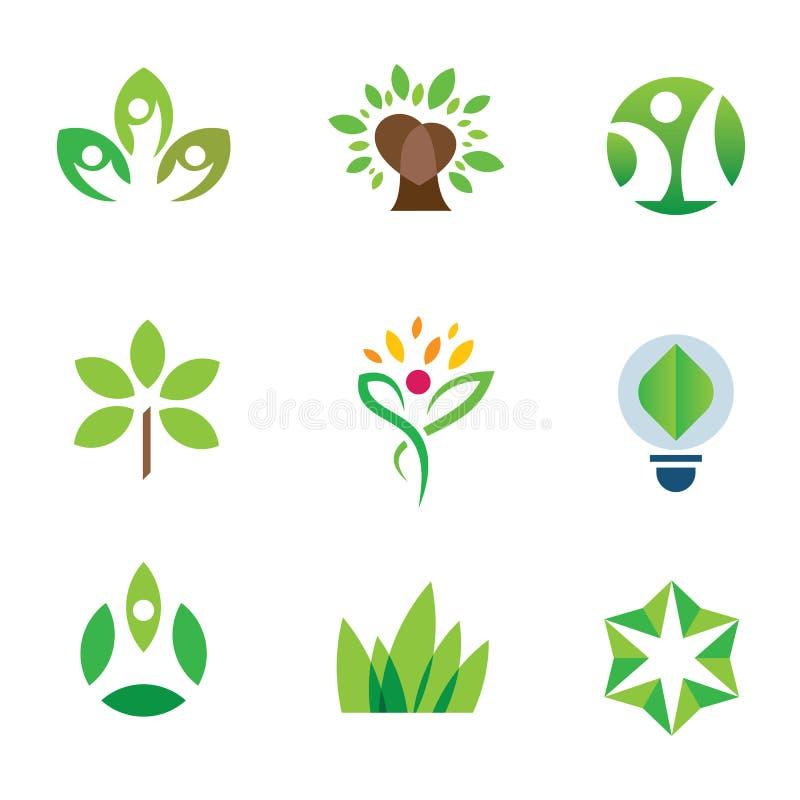 Sistema del icono del logotipo de la comunidad de la naturaleza del árbol del verde de la conciencia del ambiente de Eco stock de ilustración