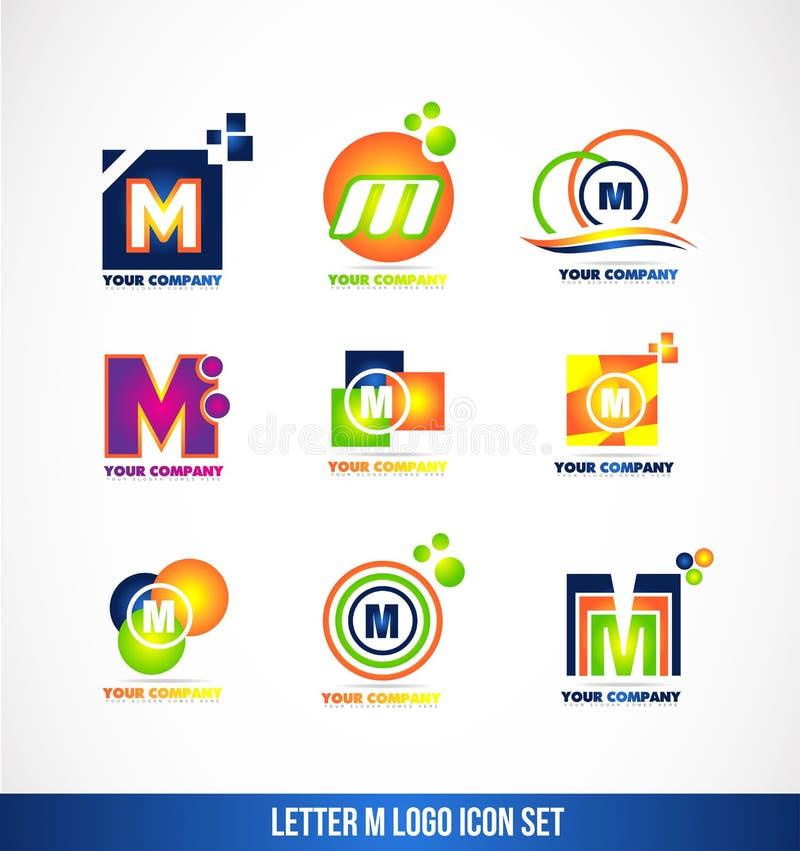 Sistema del icono del logotipo de la letra M stock de ilustración