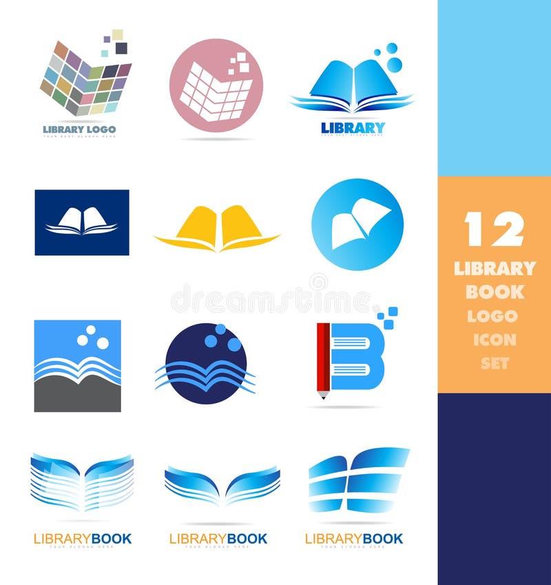 Sistema del icono del logotipo del libro de la biblioteca ilustración del vector