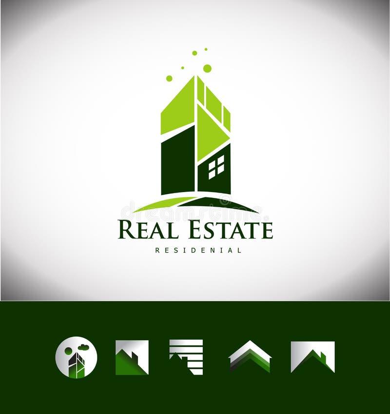 Sistema del icono del logotipo del tejado de la casa del edificio de las propiedades inmobiliarias stock de ilustración