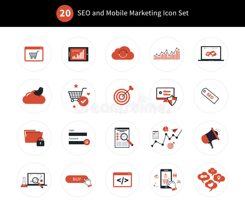 Sistema del icono del márketing stock de ilustración