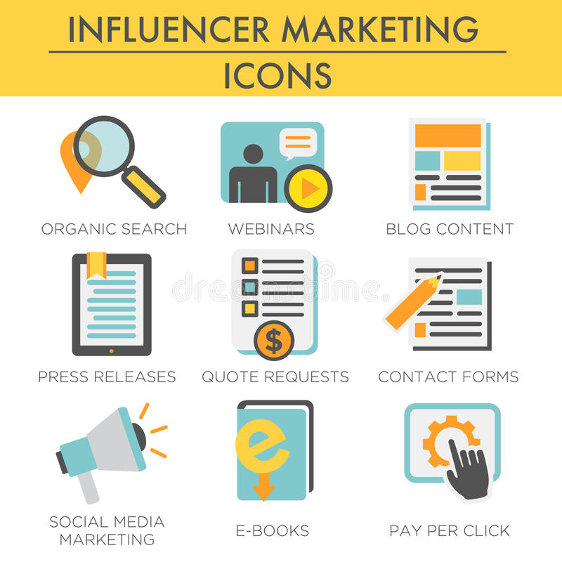 Sistema del icono del márketing de Influencer libre illustration