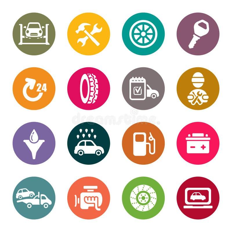 Sistema del icono del mantenimiento del servicio del coche libre illustration
