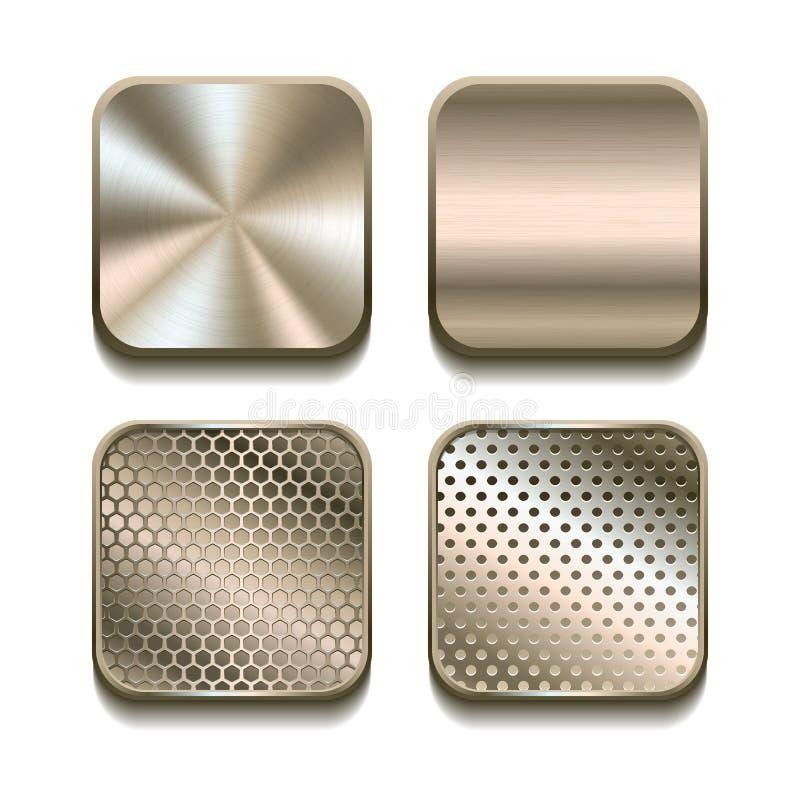 Sistema del icono del metal de Apps. ilustración del vector
