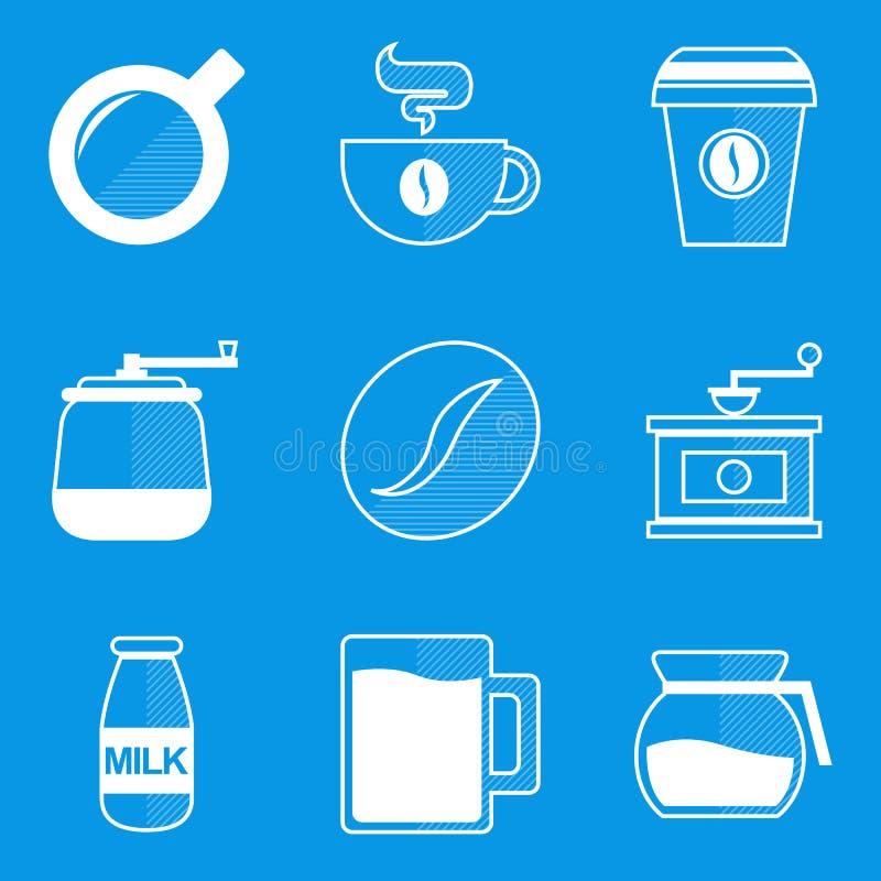 Sistema del icono del modelo Café ilustración del vector