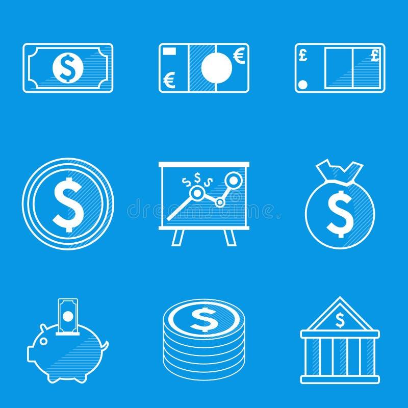 Sistema del icono del modelo Dinero ilustración del vector