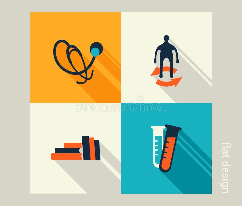 Sistema del icono del negocio Atención sanitaria, medicina, chequeo Diseño plano stock de ilustración