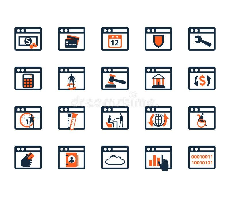 Sistema del icono del negocio Software, desarrollo web, finanzas, depositando ilustración del vector