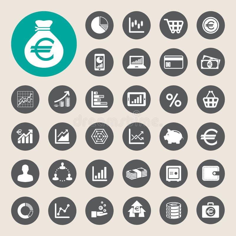 Sistema del icono del negocio y de las finanzas. ilustración del vector