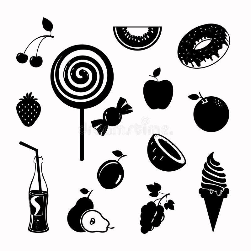 Download Sistema Del Icono Del Negro De La Comida Del Vector Ilustración del Vector - Ilustración de cereza, soda: 64200622