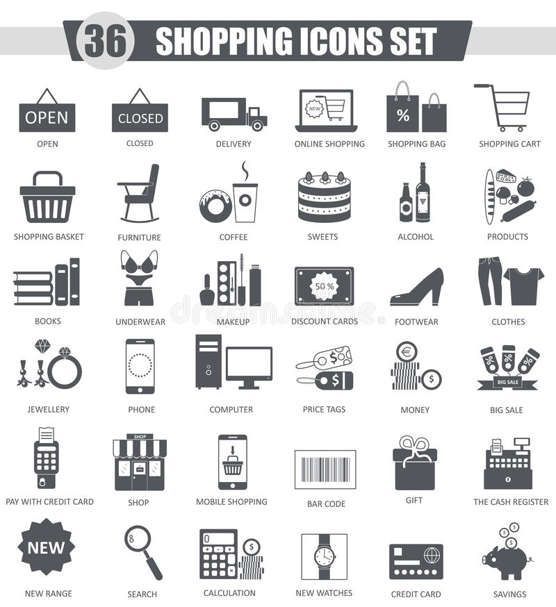 Sistema del icono del negro del comercio electrónico de las compras de las finanzas del vector Diseño clásico gris oscuro del ico libre illustration