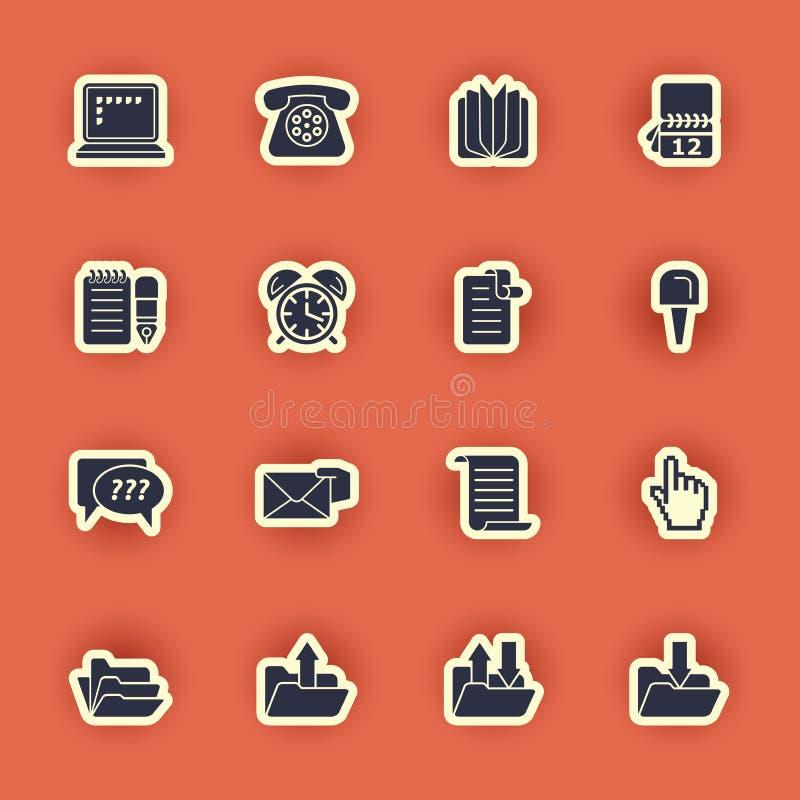 Sistema del icono del ordenador aislado en rojo stock de ilustración