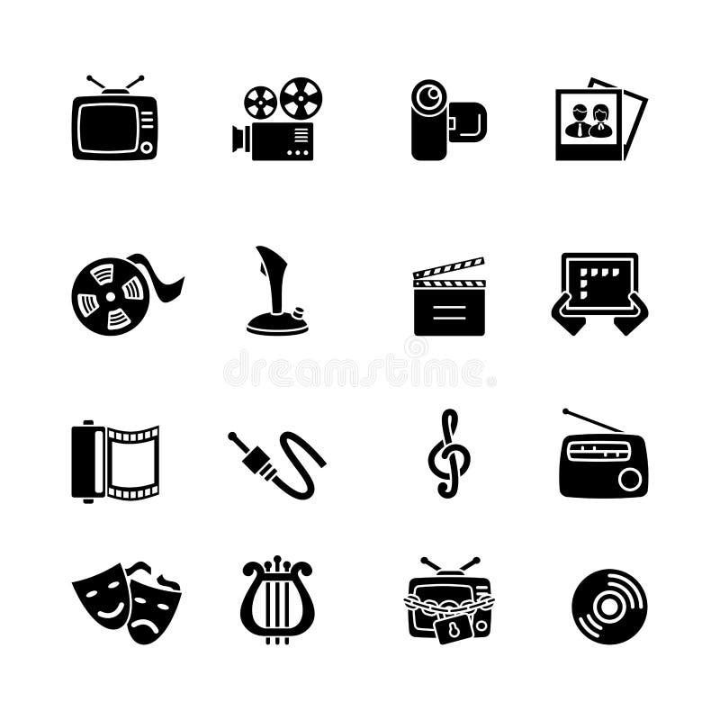 Sistema del icono del ordenador de las multimedias ilustración del vector