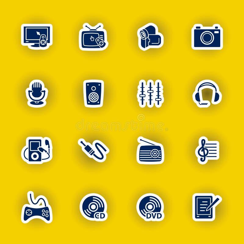 Sistema del icono del ordenador de las multimedias aislado en amarillo stock de ilustración