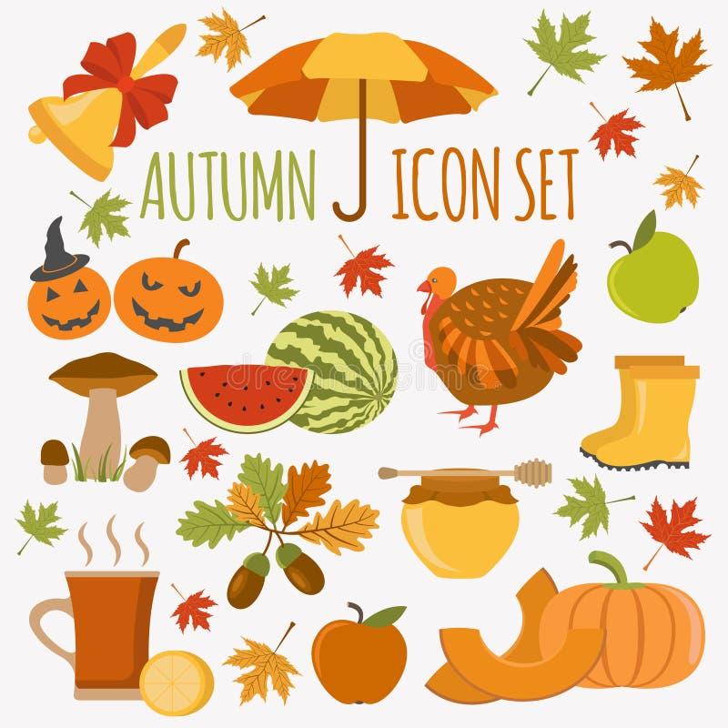 Sistema del icono del otoño Víspera de Todos los Santos y día de la acción de gracias Diseño plano libre illustration